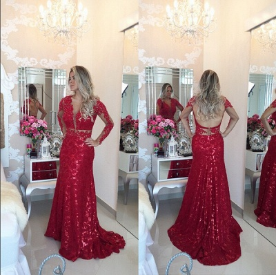 Gorgeous Red Mermaid Sequins Prom Dress UK Lace Appliques Backless_2