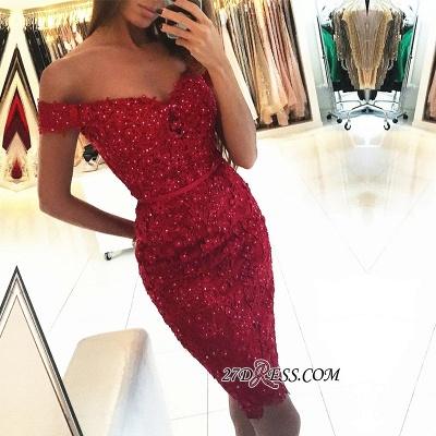 Beadings Short Sheath Red Off-the-Shoulder Appliques Elegant Tight Homecoming Dress UK qq0326_1