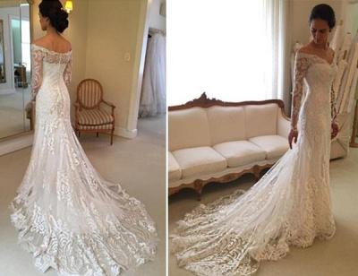 Court-Train Lace Long-Sleeve Sheath V-neck Off-the-shoulder Wedding Dresses UK BA4066_2