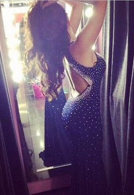 Elegant Halter Mermaid Black Prom Dress UK Sleeveless With Beadings_1