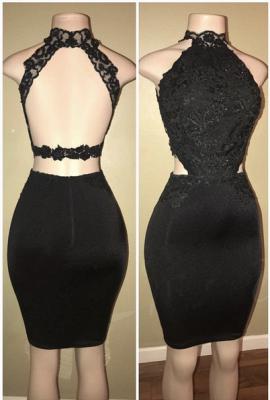 Black lace short prom Dress UK, homecoming Dress UK BA8580_1