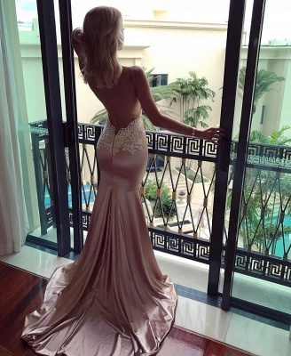 V-neck Spaghetti Straps Prom Dress UK   Mermaid Lace Evening Party Gowns_4
