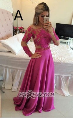 Luxury Long Sleeve Lace Prom Dress UK Long Chiffon Evening Gowns BT_5
