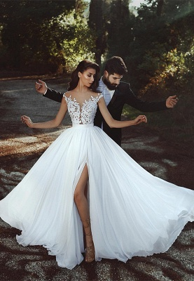 Cap-Sleeve Lace Wedding Dress    Bridal Gowns With Slit BA8543_1