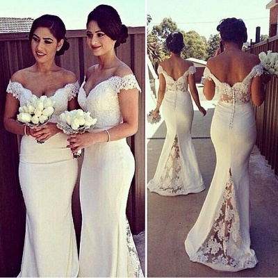 Elegant Off-shoulder Mermaid Bridesmaid Dress UK With Lace Appliques_3