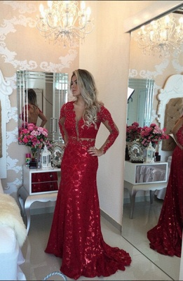 Gorgeous Red Mermaid Sequins Prom Dress UK Lace Appliques Backless_1