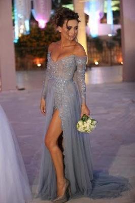 Elegant V-neck Long Sleeve Evening Dress UK Front Split Open Back Train Prom Gowns With Beadings_1