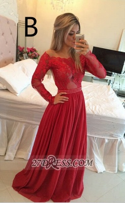 Luxury Long Sleeve Lace Prom Dress UK Long Chiffon Evening Gowns BT_6