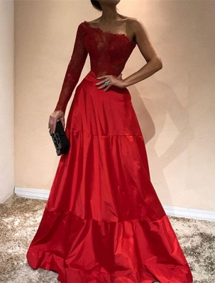 Luxury One-Shoulder Evening Dress UK | Lace Red Prom Party Gowns_1