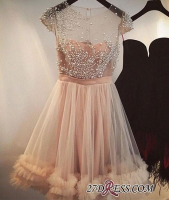 Tulle A-line Beading Capped-Sleeves Sheer Champagne Homecoming Dress UKes UK_3