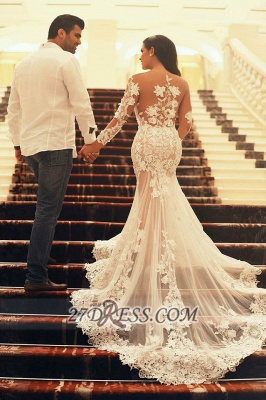 Elegant Long Sleeve Tulle Mermaid Prom Dress UK With Lace Appliques_2