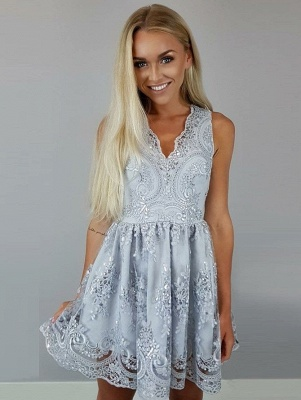 Sexy V-neck Lace Appliques Homecoming Dress UK Sequins Short Party Gowns BA7136_1