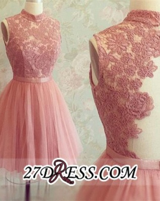 High-Neck Mini Lace Appliques Newest Sleeveless Homecoming Dress UK_2