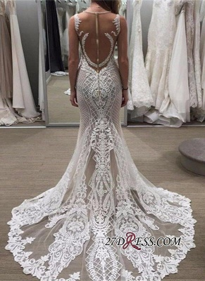 Illusion Detachable-Train Lace Delicate Zipper Sleeveless Wedding Dress bd028_3