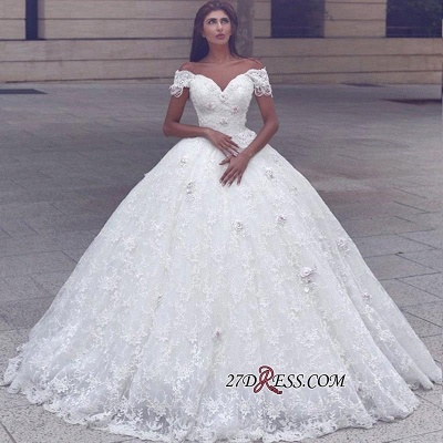 Ball-Gown Lace Elegant Cap-Sleeve Lace Wedding Dress_1