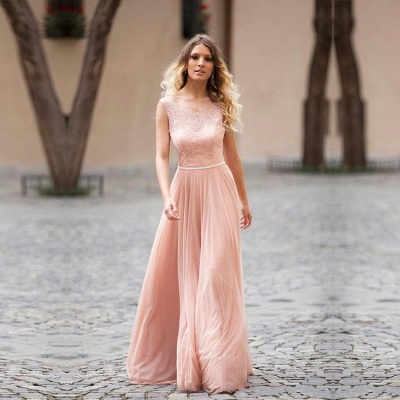 Lovely Pink Sleeveless Prom Dress UK Long Lace Tulle_5