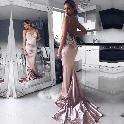 V-neck Spaghetti Straps Prom Dress UK   Mermaid Lace Evening Party Gowns_3