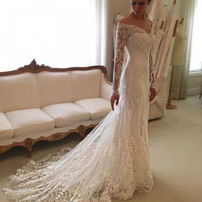 Court-Train Lace Long-Sleeve Sheath V-neck Off-the-shoulder Wedding Dresses UK BA4066_4