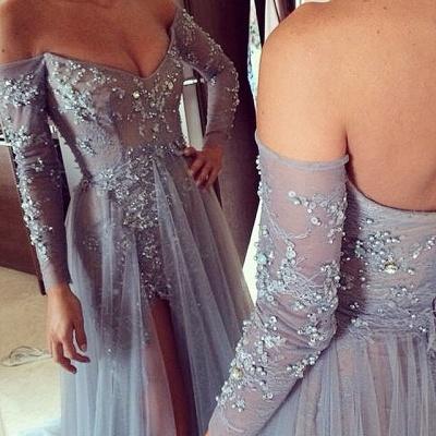Elegant V-neck Long Sleeve Evening Dress UK Front Split Open Back Train Prom Gowns With Beadings_2