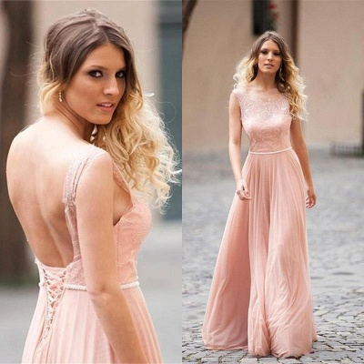 Lovely Pink Sleeveless Prom Dress UK Long Lace Tulle_3