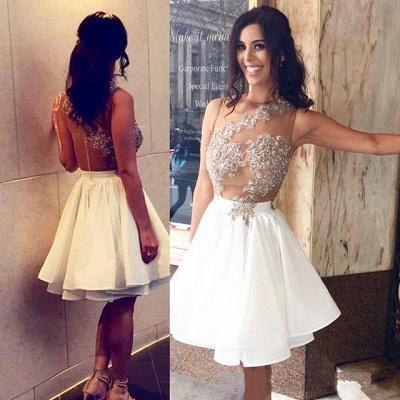 Beaded A-Line Appliques Short Chiffon Lace Sleeveless Homecoming Dress UK_4