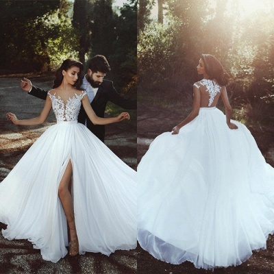 Cap-Sleeve Lace Wedding Dress    Bridal Gowns With Slit BA8543_3