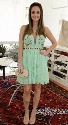Crystal Lace Empire Sweetheart Sleeveless Mini Homecoming Dress UKes UK_2