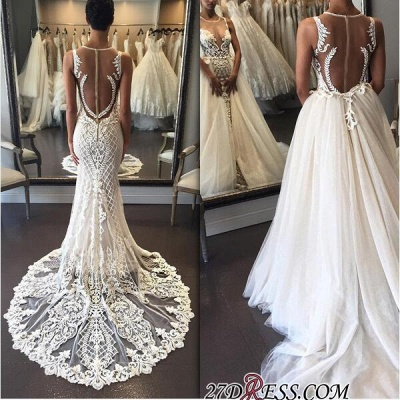Illusion Detachable-Train Lace Delicate Zipper Sleeveless Wedding Dress bd028_1