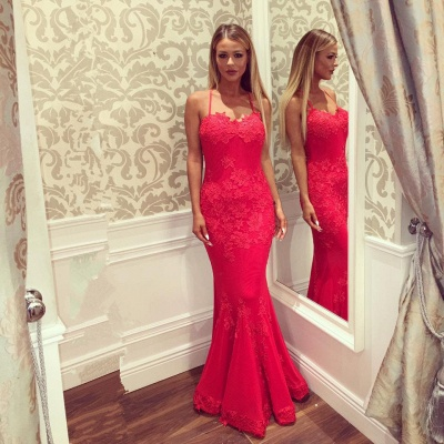 Sexy Halter Red Lace Mermaid Long Prom Dress UK Online_4
