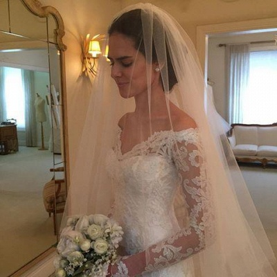Court-Train Lace Long-Sleeve Sheath V-neck Off-the-shoulder Wedding Dresses UK BA4066_1