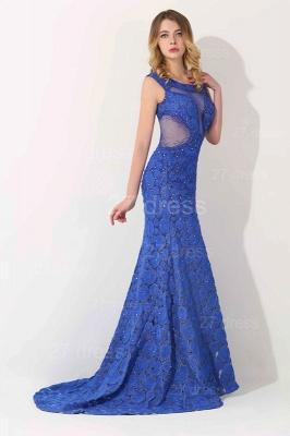 Luxury Royal Blue Sleeveless Evening Dress UK Sweep Train_2