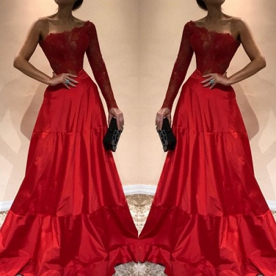 Luxury One-Shoulder Evening Dress UK | Lace Red Prom Party Gowns_3