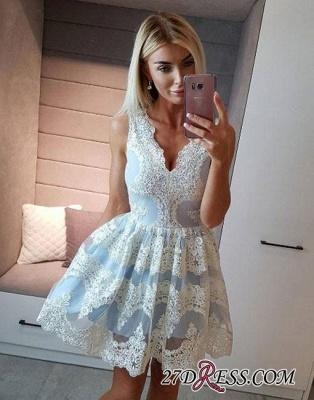 Light-blue Lace Short A-line V-neck Homecoming Dress UK_2