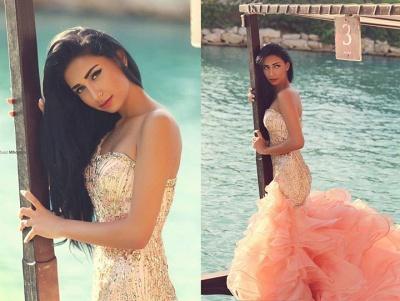 Elegant Sleeveless Sexy Mermaid Wedding Dress With Ruffles Beadss_2