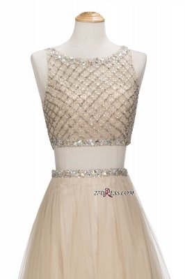Chic Beading Tulle Two-Piece A-line Prom Dress UKes UK_3