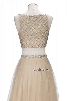 Chic Beading Tulle Two-Piece A-line Prom Dress UKes UK_2