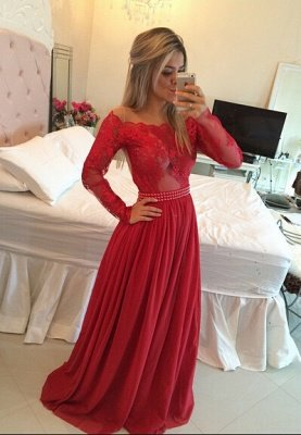 Luxury Long Sleeve Lace Prom Dress UK Long Chiffon Evening Gowns BT_4