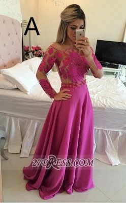 Luxury Long Sleeve Lace Prom Dress UK Long Chiffon Evening Gowns BT_5