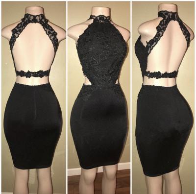 Black lace short prom Dress UK, homecoming Dress UK BA8580_3