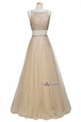 Chic Beading Tulle Two-Piece A-line Prom Dress UKes UK_6