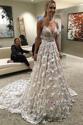 Flowers  Gorgeous Spaghetti-Straps Backless Wedding Dress_2