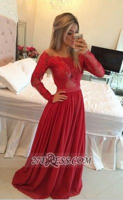 Luxury Long Sleeve Lace Prom Dress UK Long Chiffon Evening Gowns BT_3
