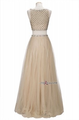Chic Beading Tulle Two-Piece A-line Prom Dress UKes UK_4