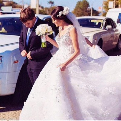 Princess Straps Ball Gown Wedding Dresses UK With Beadss Appliques_4