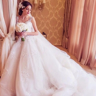 Princess Straps Ball Gown Wedding Dresses UK With Beadss Appliques_3
