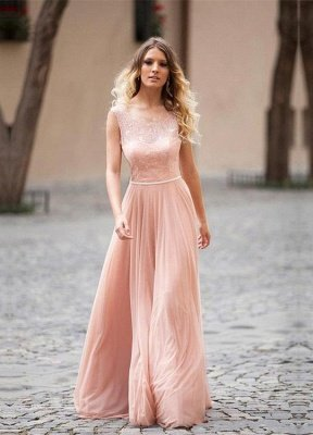 Lovely Pink Sleeveless Prom Dress UK Long Lace Tulle_1