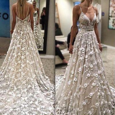 Flowers  Gorgeous Spaghetti-Straps Backless Wedding Dress_1