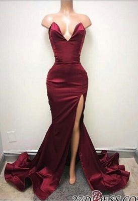 Sleeveless Sweetheart Front-Split Elegant Sweep-Train Prom Dress UK SP0319_1