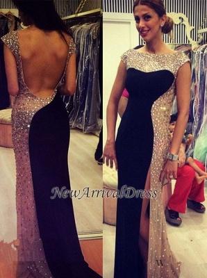 Elegant Side-Slit New Long Backless Crystal Evening Dress UKes UK_1