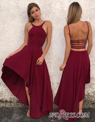 Sleeveless Stylish High-low Chiffon Backless A-line Evening Dress UK_4